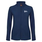 Ladies Fleece Full Zip Navy Jacket-Blue Devils Stacked