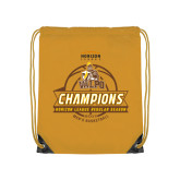 Gold Drawstring Backpack-2017 Mens Basketball Champions Basketball Ribbon