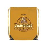 Gold Drawstring Backpack-2017 Mens Basketball Champions Basketball Ribbon