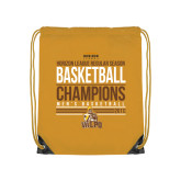 Gold Drawstring Backpack-2017 Mens Basketball Champions Stacked