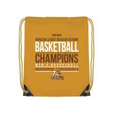 Gold Drawstring Backpack-2017 Mens Basketball Champions Stacked