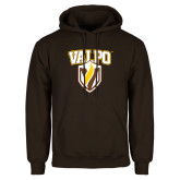 Brown Fleece Hoodie-Stacked Valpo Shield