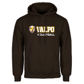Brown Fleece Hoodie-Volleyball