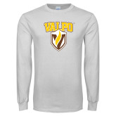White Long Sleeve T Shirt-Stacked Valpo Shield