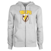 ENZA Ladies White Fleece Full Zip Hoodie-Stacked Valpo Shield