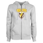 ENZA Ladies White Fleece Full Zip Hoodie-Stacked Valpo Shield