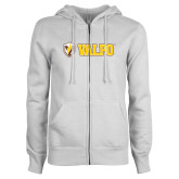 ENZA Ladies White Fleece Full Zip Hoodie-Flat Valpo Shield