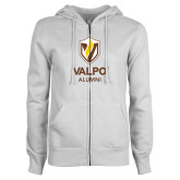 ENZA Ladies White Fleece Full Zip Hoodie-University Alumni Mark