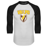 White/Black Raglan Baseball T-Shirt-Stacked Valpo Shield