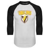 White/Black Raglan Baseball T-Shirt-Stacked Valpo Shield