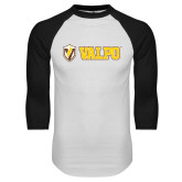 White/Black Raglan Baseball T-Shirt-Flat Valpo Shield