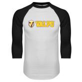 White/Black Raglan Baseball T-Shirt-Flat Valpo Shield