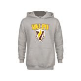 Youth Grey Fleece Hood-Stacked Valpo Shield