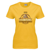 Ladies Gold T Shirt-2017 Mens Basketball Champions Basketball Ribbon