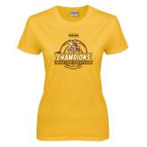 Ladies Gold T Shirt-2017 Mens Basketball Champions Basketball Ribbon