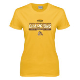 Ladies Gold T Shirt-2017 Mens Basketball Champions