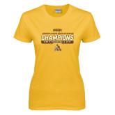 Ladies Gold T Shirt-2017 Mens Basketball Champions