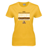 Ladies Gold T Shirt-2017 Mens Basketball Champions Repeating