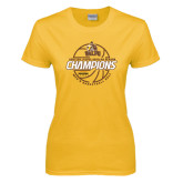 Ladies Gold T Shirt-2017 Mens Basketball Champions Basketball