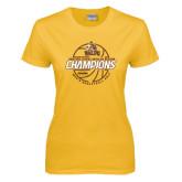 Ladies Gold T Shirt-2017 Mens Basketball Champions Basketball