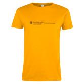 Ladies Gold T Shirt-School of Psychology Horizontal