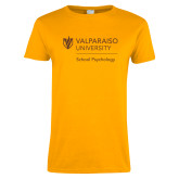 Ladies Gold T Shirt-School of Psychology Vertical