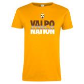 Ladies Gold T Shirt-Valpo Nation