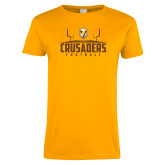 Ladies Gold T Shirt-Football Field Design