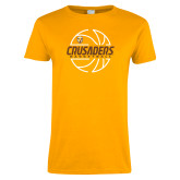 Ladies Gold T Shirt-Basketball Outline Design