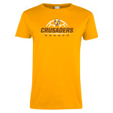 Ladies Gold T Shirt-Stacked Soccer Design