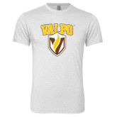 Next Level Heather White Tri Blend Crew-Stacked Valpo Shield