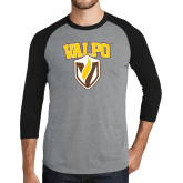 Grey/Black Tri Blend Baseball Raglan-Stacked Valpo Shield