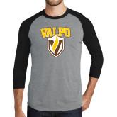 Grey/Black Tri Blend Baseball Raglan-Stacked Valpo Shield