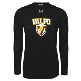 Under Armour Black Long Sleeve Tech Tee-Stacked Valpo Shield