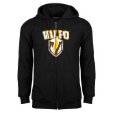 Black Fleece Full Zip Hoodie-Stacked Valpo Shield