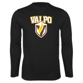 Performance Black Longsleeve Shirt-Stacked Valpo Shield