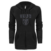 ENZA Ladies Black Light Weight Fleece Full Zip Hoodie-Stacked Valpo Shield Graphite Soft Glitter