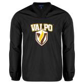 V Neck Black Raglan Windshirt-Stacked Valpo Shield