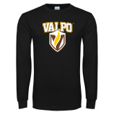 Black Long Sleeve TShirt-Stacked Valpo Shield