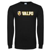 Black Long Sleeve TShirt-Flat Valpo Shield