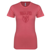 Next Level Ladies SoftStyle Junior Fitted Pink Tee-Stacked Valpo Shield Pink Glitter