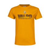 Youth Gold T Shirt-Stacked Valpo Design