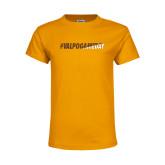 Youth Gold T Shirt-#VALPOGAMEDAY