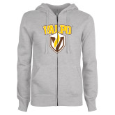 ENZA Ladies Grey Fleece Full Zip Hoodie-Stacked Valpo Shield