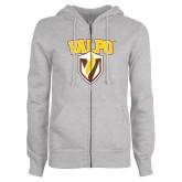 ENZA Ladies Grey Fleece Full Zip Hoodie-Stacked Valpo Shield