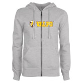 ENZA Ladies Grey Fleece Full Zip Hoodie-Flat Valpo Shield