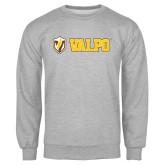 Grey Fleece Crew-Flat Valpo Shield