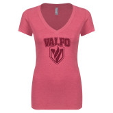 Next Level Ladies Vintage Pink Tri Blend V-Neck Tee-Stacked Valpo Shield Hot Pink Glitter