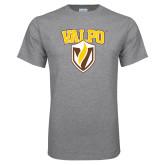 Grey T Shirt-Stacked Valpo Shield