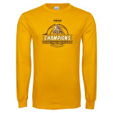 Gold Long Sleeve T Shirt-2017 Mens Basketball Champions Basketball Ribbon